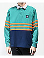 adidas Winchell Green, Navy & Orange Long Sleeve Polo Shirt