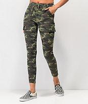 Almost Famous pantalones ajustados camuflados de cintura alta
