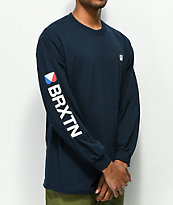 Brixton Stowell Navy Long Sleeve T-Shirt