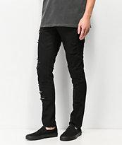 Broken Promises Dilated Distressed Black Denim Skinny Jeans