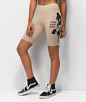 Broken Promises Do Better Tan Bike Shorts