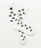 Champion All Over C White Crew Socks
