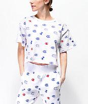 Champion Allover Print camiseta corta blanca, azul y roja