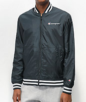 Champion Black & White Satin Baseball Jacket