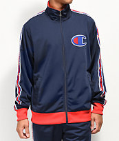 Champion Chain Stitch C Logo Blue & Red Track Jacket