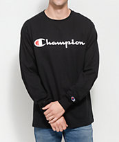 Champion Patriotic Script Black Long Sleeve T-Shirt