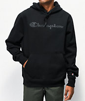 Champion Quilted Logo Black Hoodie