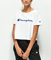 Champion Script White Crop T-Shirt