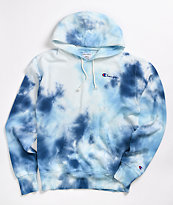 Champion Sky Blue & White Tie Dye Oversized Hoodie
