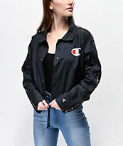 Champion Zip Tape Black Crop Coaches Jacket