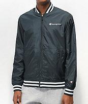 Champion chaqueta de béisbol de satén negro y blanco
