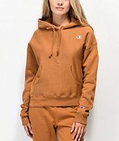 Champion sudadera con capucha de tejido inverso sepia marrón
