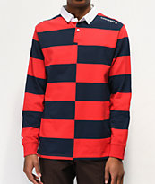 Converse All Star Rugby Red & Navy Long Sleeve Knit Polo Shirt