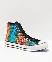 Converse Chuck 70 zapatos de lentejuelas en arcoíris y plata