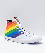 Converse Chuck Taylor All Star Hi Pride Rainbow & White Shoes
