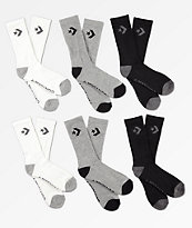 Converse Six Pack Black, Grey & White Crew Socks