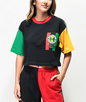 Cross Colours Flag Logo camiseta corta negra, verde y amarilla