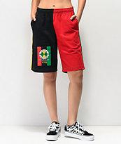 Cross Colours Flag Logo shorts negros, verdes, amarillos y rojos