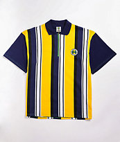 Cross Colours Yellow & Navy Zip Neck Polo Shirt