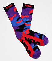 DGK Rise calcetines de camuflaje rojo, morado y azul
