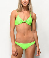 Damsel Pea Neon Green Cheeky Bikini Bottom