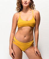 Damsel Super Rib Mustard Cheeky Bikini Bottom