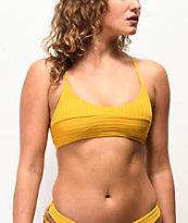 Damsel Super Rib top de bikini dorado