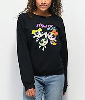 Desert Dreamer Powerpuff Girls Kanji Black Crew Neck Sweatshirt
