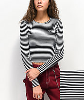 Dickies camiseta corta de manga larga negra y blanca de rayas