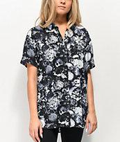 Empyre Aedia Skull Print Short Sleeve Button Up Shirt