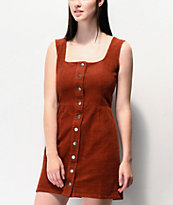 Empyre Ash Burnt Henna Corduroy Button Front Dress