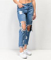 Empyre Easton Jeans boyfriend desgastados de lavado mediano