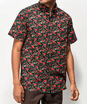 Empyre Tate Roses Black & Red Short Sleeve Button Up Shirt