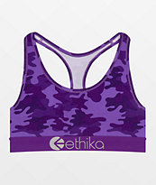Ethika Punch Camo Purple Sports Bra