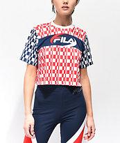 FILA Alba camiseta corta roja, blanca y azul