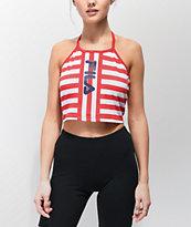 FILA Brinley camiseta corta sin mangas roja y blanca de rayas