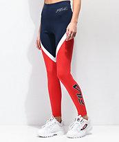 FILA Ivanna leggings en azul marino y rojo