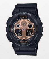 G-Shock GA100 reloj de oro rosa y negro