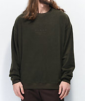 Globe State Army Green Fleece Crew Neck Sweatshirt