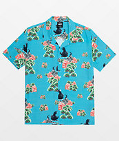 HUF x Godzilla Resort Blue Short Sleeve Button Up Shirt