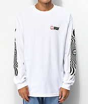 HUF x Spitfire Swirls camiseta blanca de manga larga