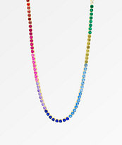 "King Ice Single Row 20"" collar de cadena arcoiris de oro"