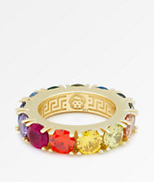 King Ice Single Row anillo arcoiris de oro
