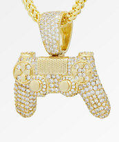 King Ice x PlayStation Iced Out Classic PlayStation Controller collar de cadena de oro