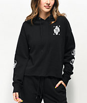 Lurking Class by Sketchy Tank Queen Black Crop Hoodie