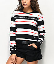 Lurking Class by Sketchy Tank Thorns Black & White Stripe Crop Long Sleeve T-Shirt