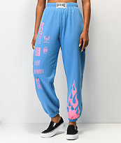 NEW girl ORDER Flame Blue & Pink Jogger Sweatpants
