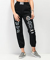 NEW girl ORDER Holographic Logo Black Jogger Sweatpants
