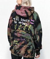 NEW girl ORDER Skeleton Black, Green & Pink Tie Dye Hoodie