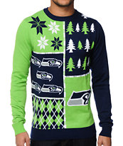 NFL Forever Collectibles Seahawks Busy Block Sweater